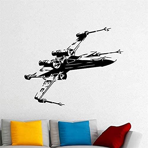 Adesivo da parete Adesivo da parete in PVC rimovibile Adesivo da parete X-wing Fighter Star Wars Decorazione navicella spaziale Camera dei bambini Decorazione della scuola materna 50x40 cm