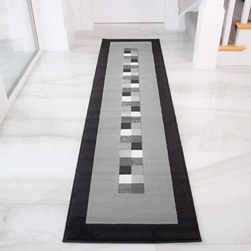 The Rug House Tapis Moderne Doux Bordure Noire et Grise Milan 777-H51-5 Tailles