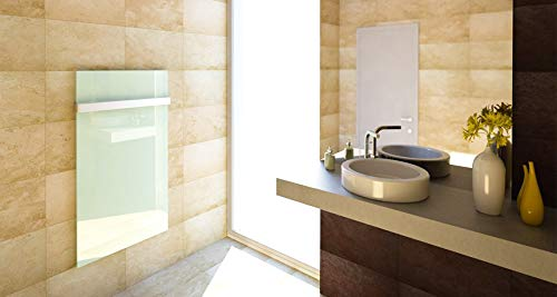 insidehome | Infrarotheizung Glasheizung ELEGANCE Classic H | Glas rahmenlos | ergänzbar mit bis zu 3 Handtuchhaltern | Farbe: weiss | 450 Watt – 60 x 70 x 1,8 cm Bild 4*