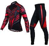 AFDLT Hombre Ciclismo Chaqueta Set,Verano Aire Libre Manga Larga Camisa,Secado rápido Respirable Deportes Jersey Pantalones,C,XS