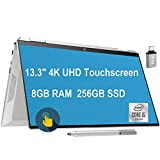 Newest 2020 HP Spectre x360 2 in 1 Laptop 13.3' 4K UHD Touchscreen Intel Quad-Core i5-1035G4 (Beats i7-7500U) 8GB DDR4 256GB SSD Thunderbolt Backlit FP AlexaPen Win 10 + iCarp USB-C Adapter