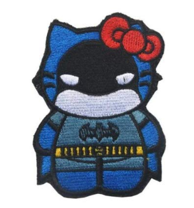 Hello Kitty AS B-atman Military Patch Fabric Embroidered Badges Patch Tactical Stickers for Clothes with Hook & Loop