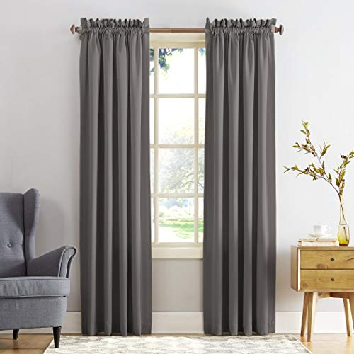 "Sun Zero Barrow Energy Efficient Rod Pocket Curtain Panel, 54"" x 84"", Steel Gray, One Panel"