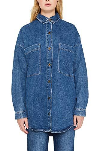 edc by ESPRIT Oversized-Jeanshemd aus Reiner Baumwolle