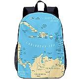 Custom Shoulder Backpack Teens Kids School Bag Wanderlust Caribbean Political Map