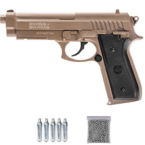 Swiss Arms SA P92 BAX Tan | Pistola de Aire comprimido (CO2) y balines (Tipo de perdigones: Bolas BB's de Acero) Calibre 4,5mm Tipo Beretta 92 Color Arena