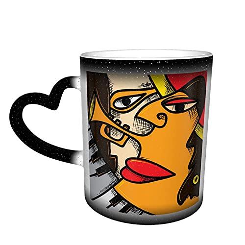 maichengxuan Lustige Tasse mit Jazz-Musikkunst mit Trompete und Klavier Kaffeetasse, lustige Farbwechsel, Reisebecher, Keramik, wärmeempfindliche Tasse