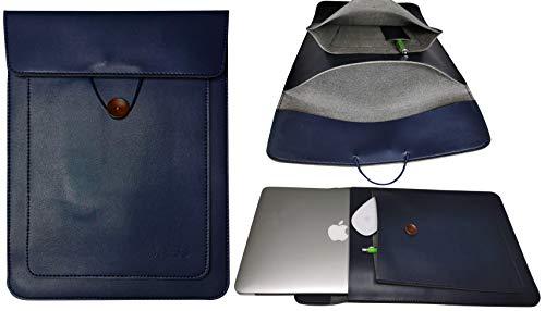JABs Laptop Tasche passend für MacBook Hülle Laptophülle Veganes Leder Hochwertig Sleeve Notebook Bag kompatibel mit 13-13,5 Zoll Laptops MacBook Air MacBook Pro Retina IPad Stifthalterung Navy Blau