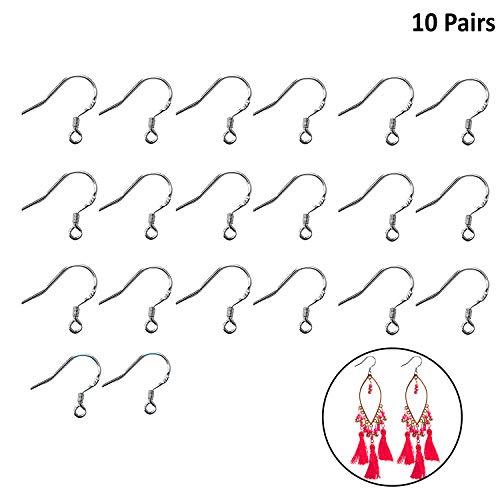 Kurtzy Ohrringhaken (10 Paar) - 15,5x14,7mm Versilberte Ohrring-Haken Schmuckzubehör Perfekt für Die Anfertigung Ihrer Eigenen DIY Ohrringe - 2mm Offener Einfädelungs Ring