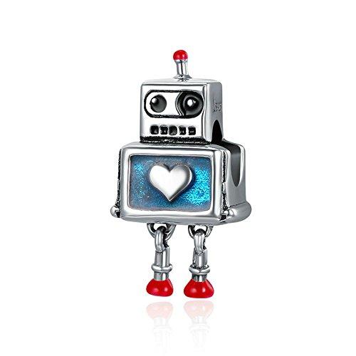 Robot Fashion - Abalorio de plata de ley 925, diseño de corazón robot, compatible con pulseras de plata de ley