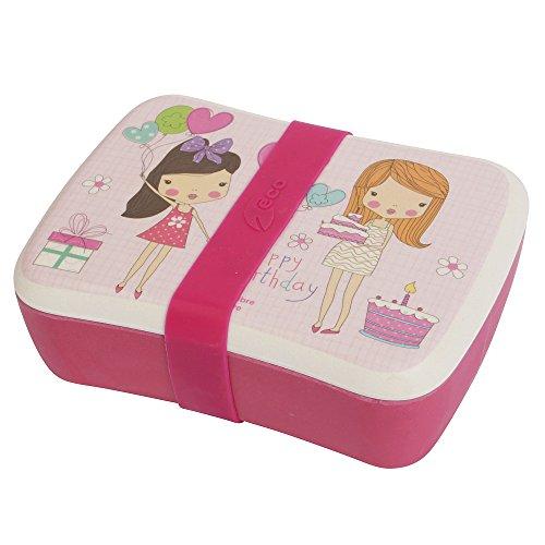 Öko-Lunchbox für Kinder mit separatem Saucenbehälter und Silikonband, aus Bambusfaser, spülmaschinenfest und frei von Bisphenol A Girly Birthday