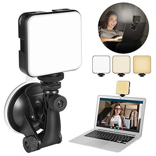 Kit di illuminazione per videoconferenza, luce ricaricabile per computer portatile MacBook con ventosa, luce LED per zoom chiamata riunione, lavoro remoto, automissione, Vlog (quadrato)