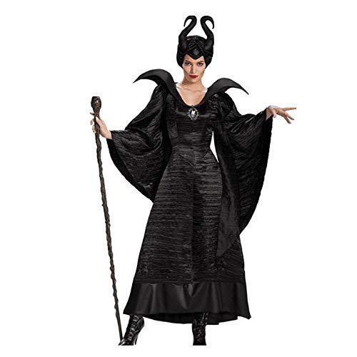 ROCK1ON vrouwen gotische cosplay jurk met capuchon vintage middeleeuwse vloer lengte Renaissance middeleeuwse kostuum jurken Maleficent heks koningin halloween kostuum