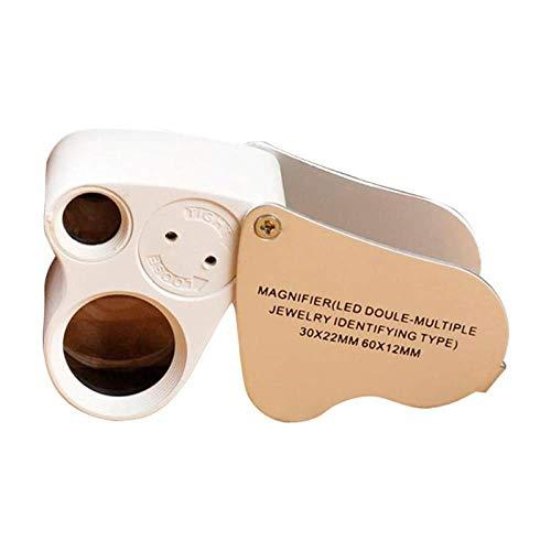 YOUZHA wit 2 LED 30X 60X loep glas vergrootglas sieraden oogversiering vergrootglas gereedschap dubbele lens Regulable