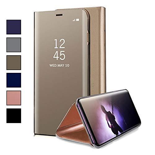 COOVY® Funda para Xiaomi Redmi S2 Aspecto metálico, armazón, Lujosa, Ventana de Espejo Transparente, visión Clara, Soporte | Color Oro