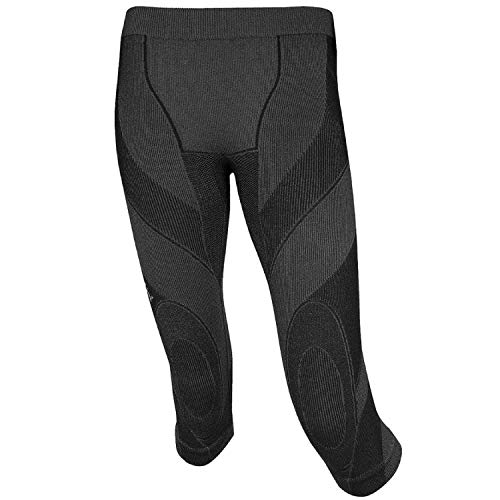 BRUBECK Damen Funktionsunterhose 3/4 Lang | Atmungsaktiv | Winter-Sport | Thermo | Ski-Unterwäsche | Leggings | Warm | 61% Merino Wolle | SP10140, Größe:XL, Farbe:Schwarz