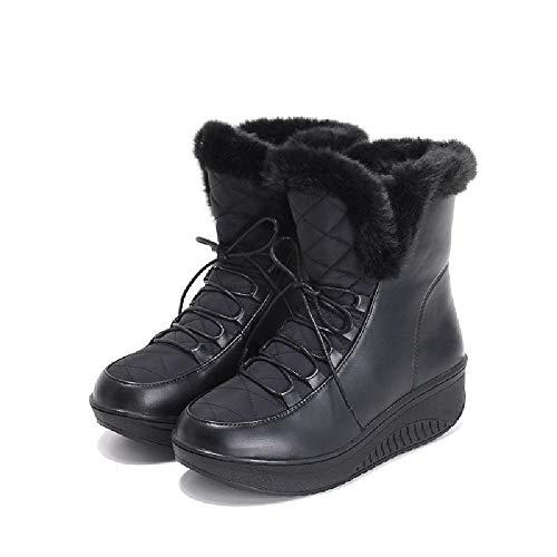 JUNSHANG Botas Cortas, Botas de Nieve cálidas de Lana Gruesa, Pastel de Esponja Botas Informales Zapatos cálidos Knight Riding Boot Work Boot,Black-39