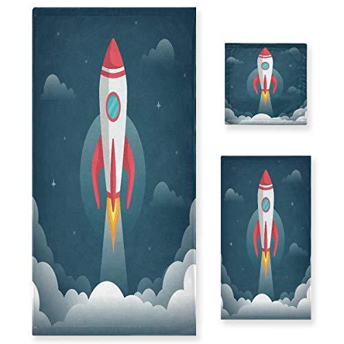 Cohete Gris Universo Espacio Juego de Toallas para Baño Playa 100% Algodón de Piscina Toalla (1 Toalla de Baño y 1 Toalla de Mano y 1 Paño de Lavado) para Nadar Hotel Niñas Niños Niños