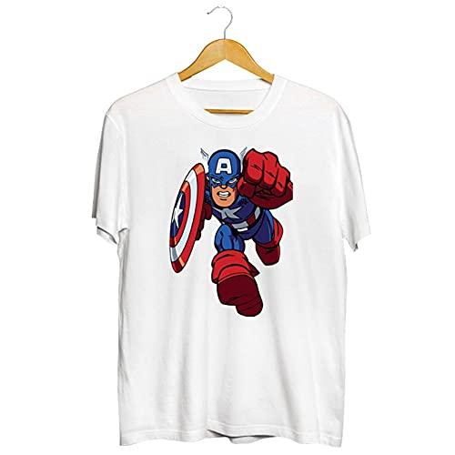 Towel Rings Hombre Captain America Shield Camiseta Camiseta De Manga Corta con Cuello Redondo Casual con Estampado De Anime para Hombres Y Mujeres