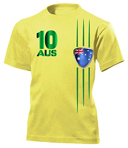 Australien Fan Streifen 3399 Fussball Kinder Kids Jungen Mädchen Unisex Fanshirt Shirt Tshirt Fanartikel Artikel T-Shirts Gelb 140