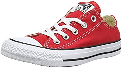 Converse Chuck Taylor All Star Canvas Low Top Sneaker, red ,9.5 Men/11.5 Women