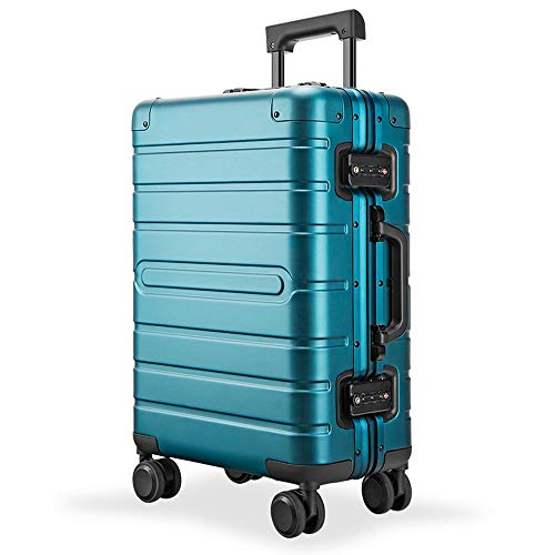 Yamyannie Trolley Suitcase Luggage Suitcase Aluminum-magnesium Alloy Trolley Suitcase With Spinner Wheels TSA Locks Carry On Luggage Travel Bag 20 Inch 24 Inch 28 Inch for Holiday