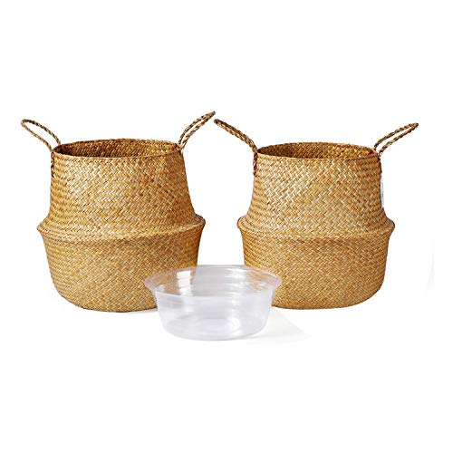Senmubery 2Pack Seagrass Plant Basket,Woven Belly Basket with Handles,Storage Laundry,Picnic,Plant Pot Cover,Home Decor
