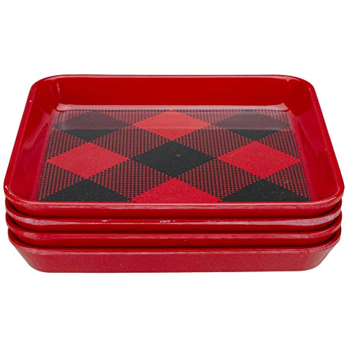 Set of 4 Red Buffalo Plaid Square Indoor Christmas Bread and Butter Plates 6'