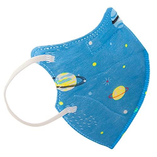 TBOC FFP2 Masken - [Pack 10 Einheiten] Einwegmasken [Kleine Größe] [Planeten und Sterne] 5 Schichten [Nicht Wiederverwendbar] Atmungsaktives Falten mit Nasenklemme [Zertifiziert und Genehmigt CE 0370]