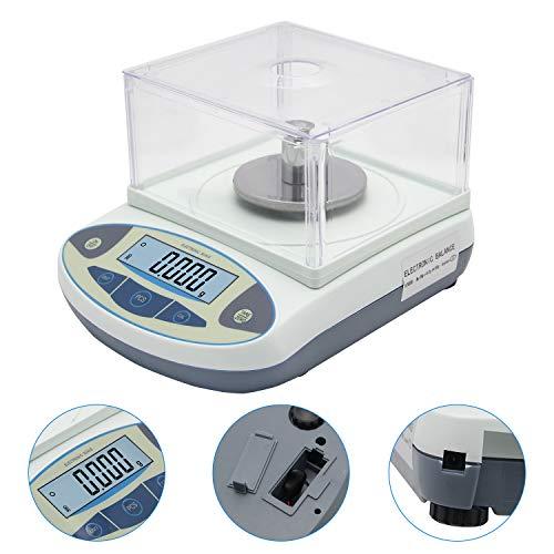 Bonvoisin 0.001g Balanza Analítica Electrónica Báscula de Laboratorio de Alta Precisión de 1mg Balanza Científica Balanzas de Joyería Balanza de Cocina Dorada Balanza con Parabrisas (100gx0.001g)