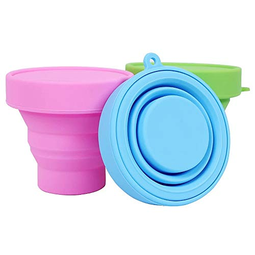 YOFAN 3 Pack Colorful Collapsible Cup Foldable Cup Travel Cup Camping Collapsable Cup (3, Silicone)