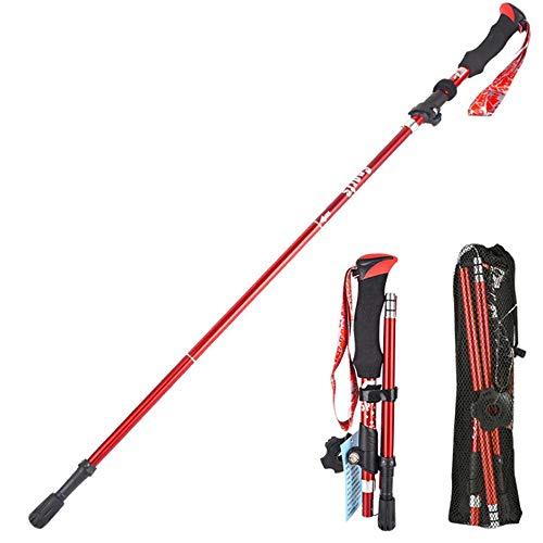 HXXBY Postes de Trekking Plegable de aleación de Aluminio, Trekking al Aire Libre Ultraligero telescópico y Caminatas de montaña (Color : Rojo, tamaño : Long)