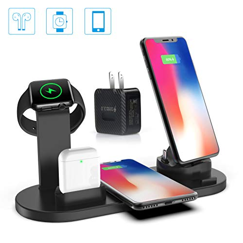 4 in 1 Wireless Apple Charging Station, Compatible for AirPods/iPhone/iWatch Series, Qi Fast Wireless Charger Stand Dock for iPhone 11/11 Pro Max/X/XR/XS/ 8/8P