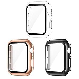 AVIDDA コンパチブル Apple Watch ケース 40mm 3枚入り アップルウォッチカバー Series SE/6/5/4 ガラスフィルム 光沢感 iWatchケース ブラック/クリア/ローズゴールド