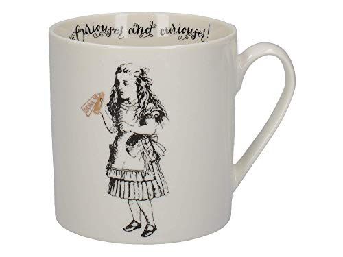 V&A Alicia en el país de las maravillas - Juego de taza en caja de regalo, porcelana, Oro blanco y negro, 350 ML