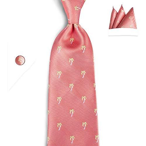 YTGUEVKDH Fashion Peach Tie Pink Floral 100% Silk Necktie Hanky Cufflinks Tie Compatible with Men Business Wedding Party Tie Set