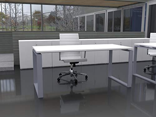 Mesa de Oficina con Estructura Cerrada, de 160x80cm. FABRICACIÓN Nacional. Entrega de 3 a 7 dias. (Tablero Blanco, Estructura Gris Plata)