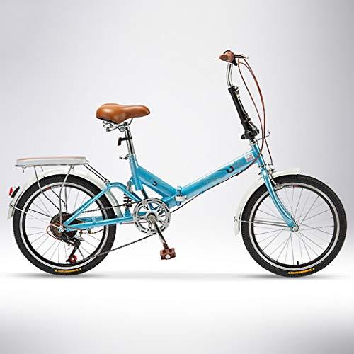 LXYStands Hombres Mujeres Bicicletas Plegables 20 Pulgadas Ligera Mini Bicicleta Plegable Estudiante con Amortiguación Acero de Alto Carbono Commuter Adult Cruiser Bike