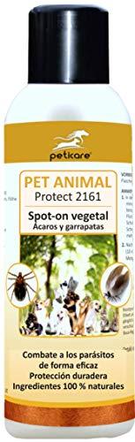 Peticare Perros y Gatos Bio Spot-On contra Garrapatas - Protección Anual, Pipeta Repelente 100% Biológico, También Anti-Acaros y Anti-Pulgas, Sin Químicos Nocivos - petAnimal Protect 2161 (100 ml)
