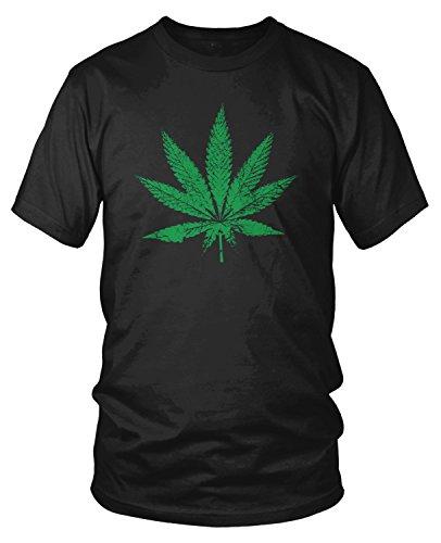 Amdesco Men's Weed Leaf, Faded and Distressed Pot Leaf T-Shirt, Black 2XL