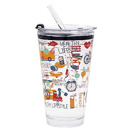 Taza de vidrio reciclado, 450 ml, con mango y paja, transparente jugo de leche y té, botella de agua con tapa y escamas para beber paja taza de café vasos (Fruitjuice)