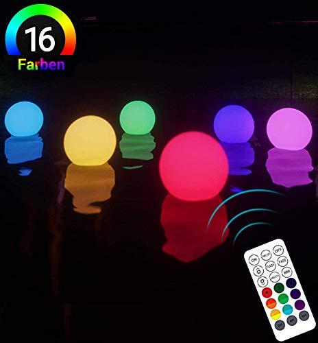 LOFTEK Poollicht LED Licht RGB Wasserdichte Poolbeleuchtung Farbwechsel Schwimmende Kugel Lampe Nachtlicht Dekolicht mit RF Fernbedienung für Pool Garten Baum Teich Party Fest, 6 Stück