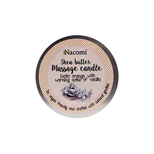 Nacomi Natural Vegan Body Massage Candle Shea Butter Exotic Orange with Warming Notes of Vanilla 150g