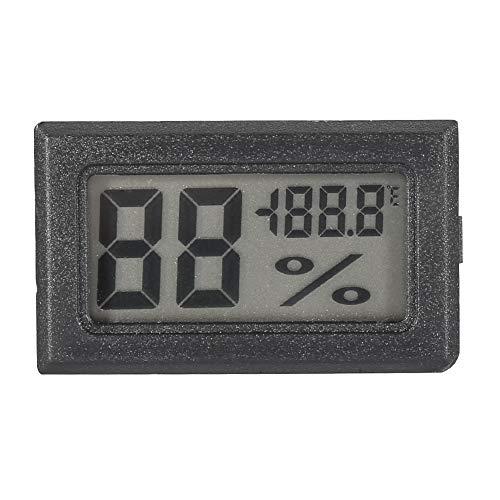 Weikeya Nero umidità Termometro, Plastica 2. * AG13. Pulsante Batteria (10.%~ 99.% Igrometro Interno Termometro per Casa, Ufficio, Serra