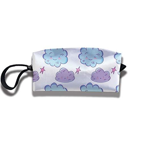 Doinh - Neceser de Viaje con Cremallera, diseño de Nubes moradas y Nubes Azules