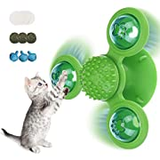 CAVEEN Cat Toys Interactive Chew Toy Windmill Cat Catnip Toy for Indoor Cats,Upgrade Cat Toothbrush Cat Hair Brush Funny Kitten Toys Turntable Massage Scratching Tickle Toy with Suction Cup Green
