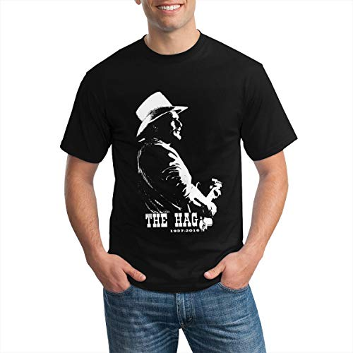 Merle Haggard Men Shirts Cotton Classic Fit Short Sleeve Sport T-Shirt Casual X-Small Black