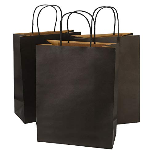 Ronvir 10 x 5 x 13 Inches Black Kraft Paper Bags with Handles, 50 Pcs Paper Shopping Bags for Bussiness, Merchandise, Retail, Festival, Christmas