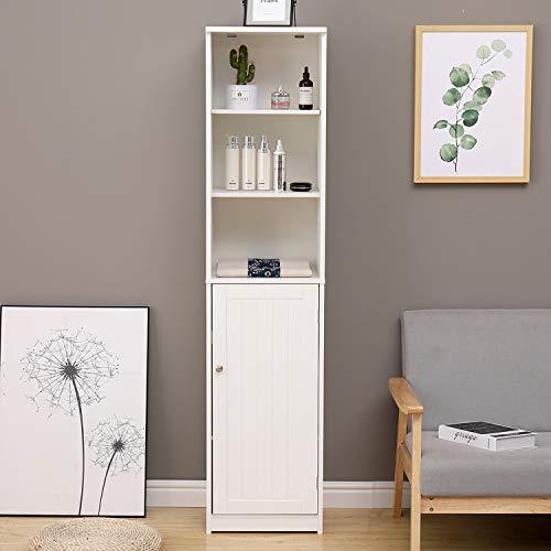 IKAYAA Armario Mueble Almacenaje Organizador Color Blanco 37 X 30 X 160cm para Baño Cocina Salón y Dormitorio Habitación, Mueble de Baño