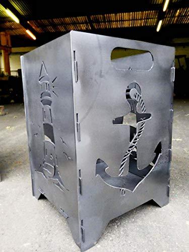 Irony Industrial Design Feuertonne - Feuerkorb - Feuerstelle - Feuerschale gesteckt 35x35x50cm Version Meer